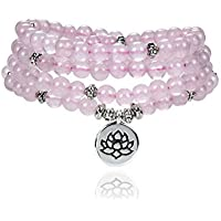 Self-Discovery 108 Small Mala Beads 6mm Natural Stone Bracelet Necklace with Lotus Charm