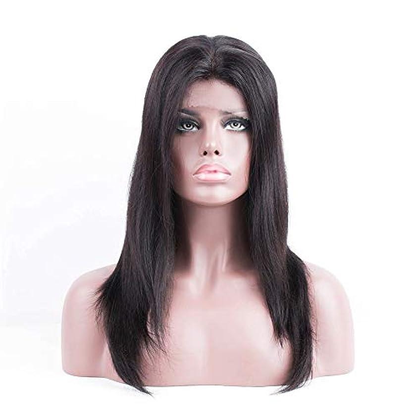 免疫オーブン苦味WASAIO ブラジル人毛ウィッグストレートレースフロントウィッグ女性ナチュラルルック (色 : 黒, サイズ : 12 inch)
