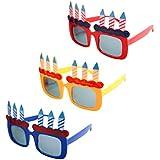 BESTOYARD バースデーメガネ 誕生日眼鏡 メガネおもちゃ パーティー 仮装 コスプレ 誕生日おめでとう 飾り付け 3個セット(ランダム色)