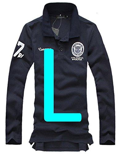 (ベクー)Bekoo メンズ 長袖 ポロシャツ ワッペン 付き カジュアル シンプル 使いやすい ゴルフ ポロ カラー ホワイト ブラック ネイビー ピンク サイズ M LXLXXL (58 長ネイビー L)
