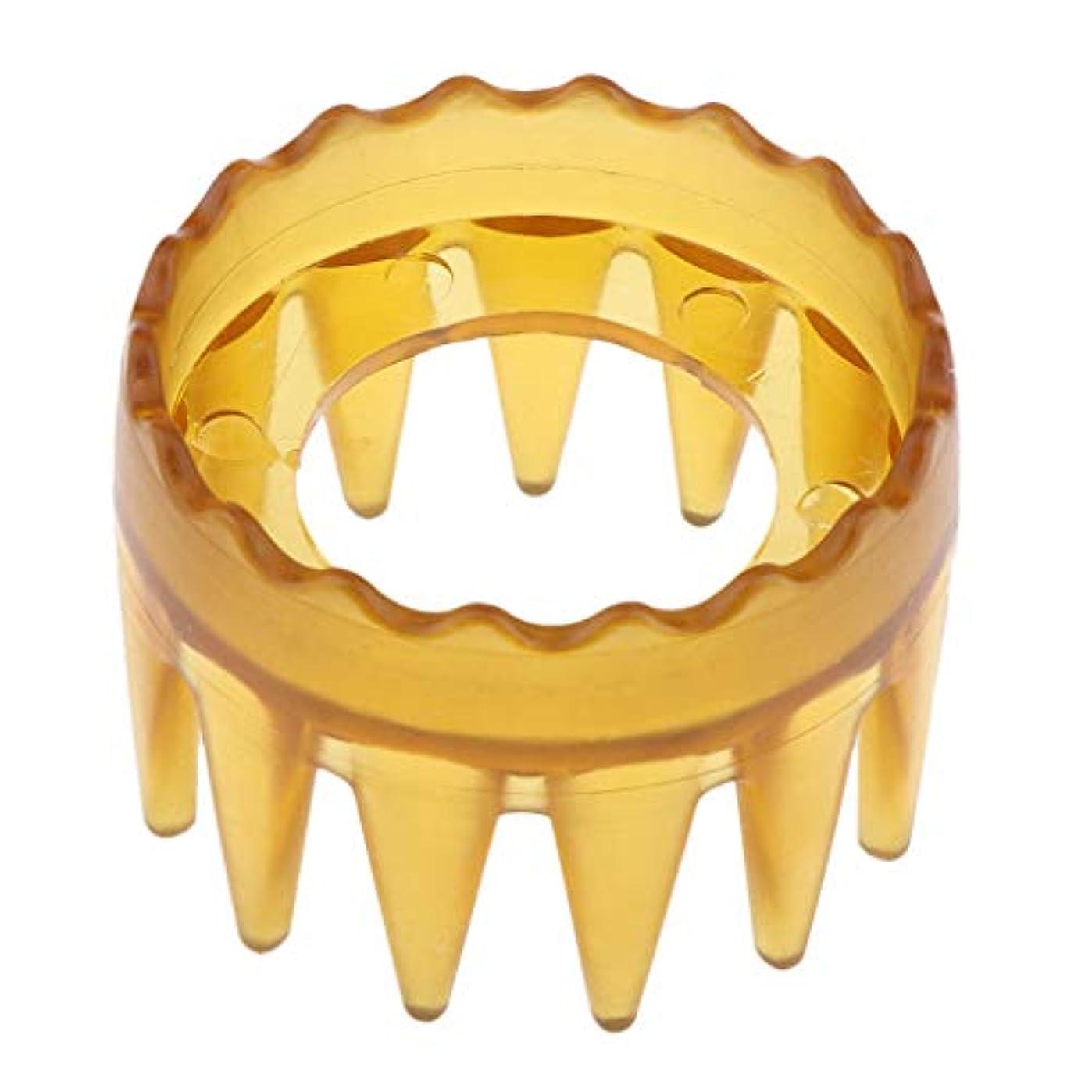 デッド国家クックシャンプーブラシ 洗髪櫛 マッサージャー ヘアコーム ヘアブラシ プラスチック製 全4色 - 黄