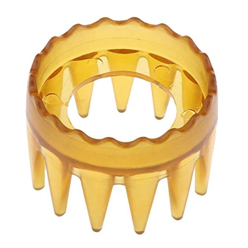 マカダム見ましたなぜならシャンプーブラシ 洗髪櫛 マッサージャー ヘアコーム ヘアブラシ プラスチック製 全4色 - 黄