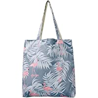 Student Tote Bag, Female Canvas Shoulder Bag School File Shopping Travel Beach Handbag Flamingo (Peacock Blue) Polykor