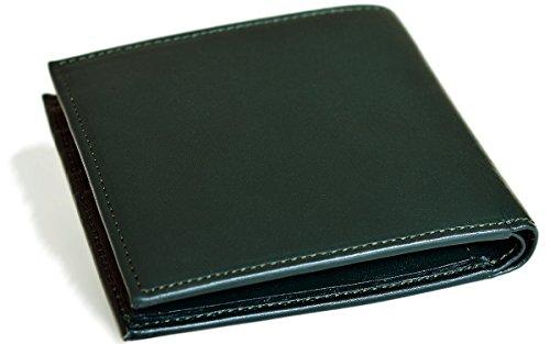 [タバラット] 二つ折り財布 本革 BOX型小銭入れ TAVARAT-FLAT-シリーズ (ブラックグリーン) TAV-025R-bg