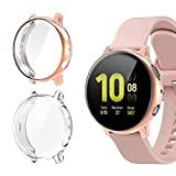 [2 Pack]Case for Samsung Galaxy Watch Active 2 44mm,All-Around TPU Anti-Scratch Flexible Screen Protector Case Soft Protective Bumper Cover for Samsung Galaxy Watch Active 2 Clear and Rose Gold(44mm)