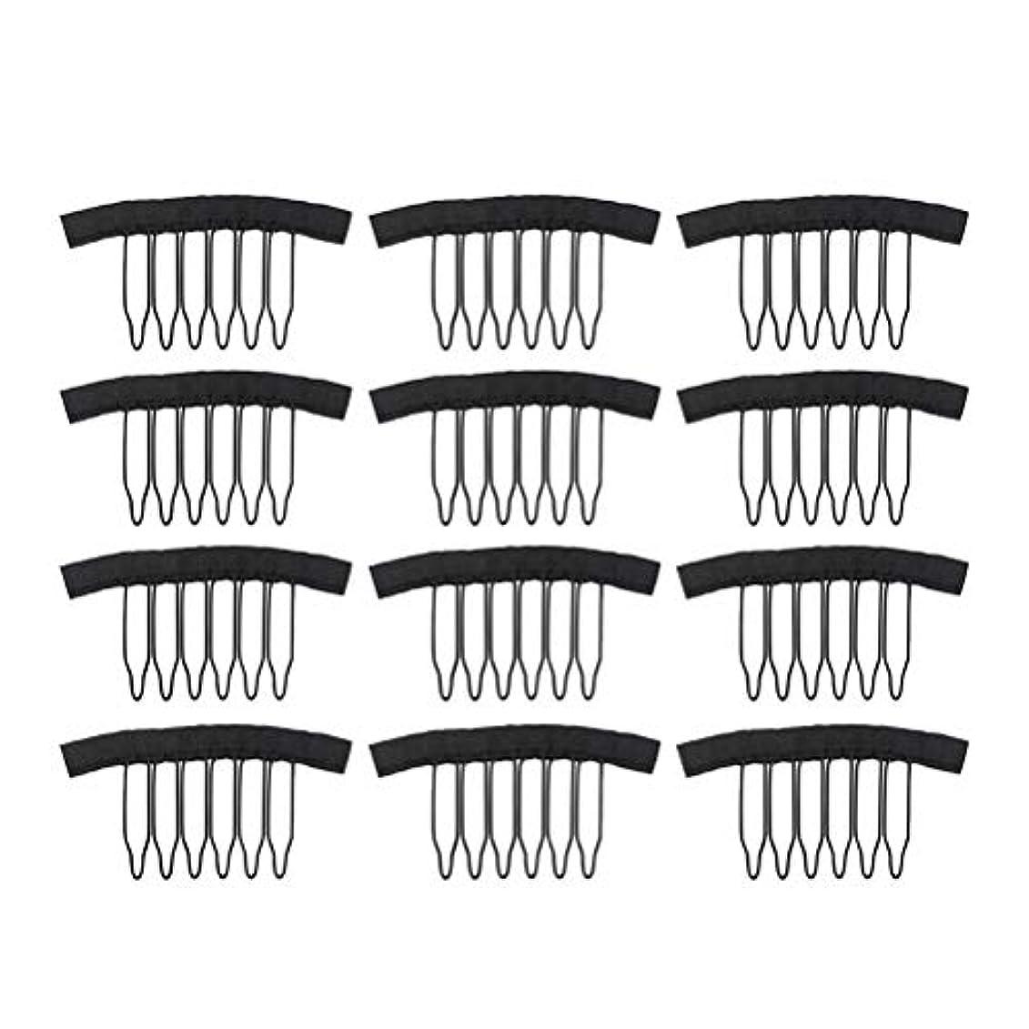 有能な性別セマフォFrcolor 12PC ウィッグ かつらピン ウィッグネットキャップクリップステンレススチール 女性用ウィッグアクセサリー(ブラック)