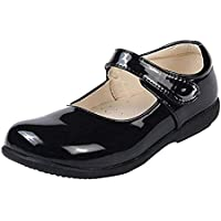 Bestry Girls School Uniform Dress Shoe Mary Jane Flat Black Leather Princess Shoes (Toddler/Little Kid/Big Kid)