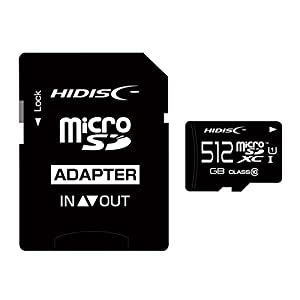 HIDISC microSDXCカード 512GB CLASS10 UHS-1対応 SD変換アダプタ/ケース付き HDMCSDX512GCL10UIJPZ