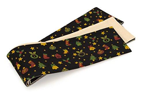 半幅帯 おりびと 織美桐 黒 ブラック 赤 緑 黄色 ツリー...