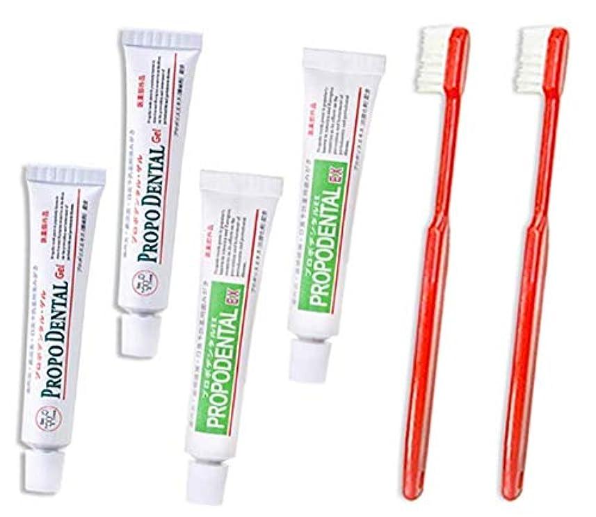フリッパーゲインセイスクリーチお試しミニセット プロポデンタルEXミニ2本 プロポデンタルゲルミニ2本 歯ブラシ2本セット 歯周病 歯磨き粉 歯槽膿漏 防腐剤 無配合 旅行用 口臭予防 外出