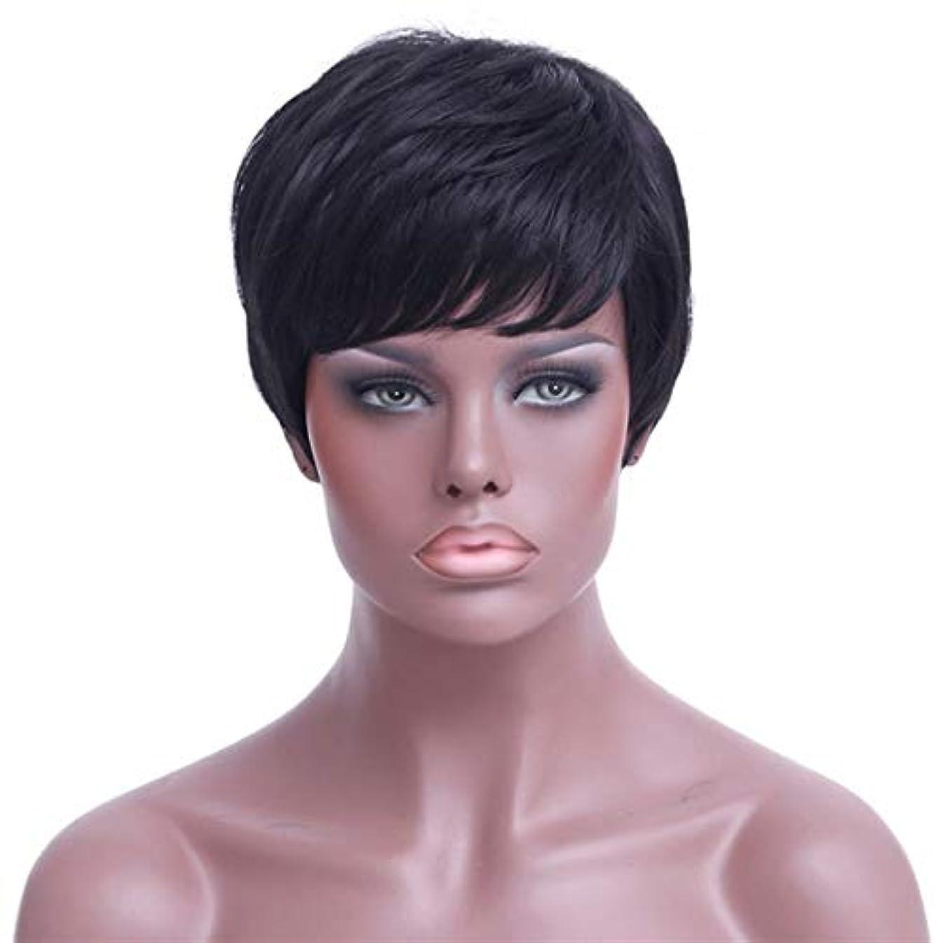 早熟眉好ましいSRY-Wigファッション ファッション短い髪のかつらかつらヨーロッパとアメリカの短いストレートヘアブラックショートヘアウィッグ高温シルクケミカルファイバーウィッグ (Color : Black)
