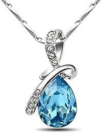 T400 Jewelers Sterling Silver Teardrop Crystal Pendant Necklace for Women