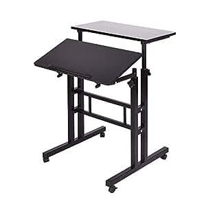 DlandHome スタンディングデスク 昇降式パソコンデスク スタンディングデスク キーボード置き付き 角度&高さ調節可能 テーブル キャスター付 机 勉強机 木目