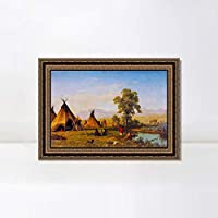"""Framed Canvas Art Giclee Print Indian Tribes Camping by Albert Bierstadt Wall Art Living Room Home Office Decorations(Vintage Embossed Gold frame,24""""x32"""")"""