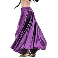 CHARMGIRL Women's Belly Dance Skirt, High Waist Big Pendulum Satin Long Skirt Stage Costume Dress