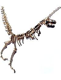 T.rex(ティラノサウルス?レックス) モチーフ ジュラシック?化石風スケルトンデザイン イエローゴールドカラー メンズ ネックレス