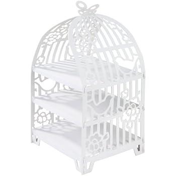 しゃべるテーブル ホワイトケーキスタンド 鳥かご センターピース   ティーパーティー 誕生日パーティー ベビーシャワー 結婚記念日に最適   紙製