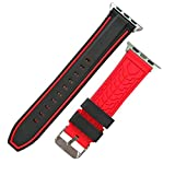 Apple Watch Bandに対応高級シリカゲル素材ストライプデザイン+柔らかい運動型Apple Watch Series 2および1に対応するウォッチバンド38MM 42MM (42MM, ブラック/レッド)