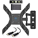 TV Wall Mount Bracket Full Motion Swivel for Most 23-55 inch LED, LCD, OLED, Plasma Flat Screen TVs with VESA up to 400x400mm 66lbs - Bonus HDMI Cable, Torpedo Level and Cable Ties by PERLESMITH
