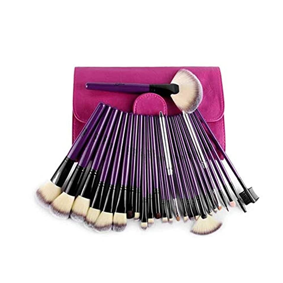 名門白内障許容できるXIAOCHAOSD メイクブラシ、24紫のプロフェッショナルメイクブラシセット、ブラシを設定メイクアップツールの専門フルセット、簡単に運ぶために (Color : Purple)
