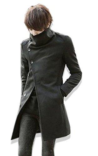 【ノーブランド品】 ロングコート ロングPコート トレンチBLACK(黒) Lサイズ