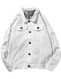 maweisong メンズウインドブレーカーカジュアル固体ボタンダウンジーンズジャケット