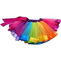 Happy Cherry Girls Ballet Tutu Skirt Layered Rainbow Ruffle Dance Dress