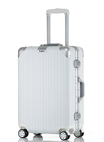 クロース(Kroeus)スーツケース TSAロック搭載 キャリーケース アルミフレーム 機内持込可 ベルトフック付き 旅行 軽量 8輪 鏡面仕上げ ホワイト S