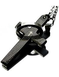 ステンレスジュエリー サージカル スチール 316L(刻印あり) メンズ ネックレス ビッグ クロス&リング ブラック316L-10