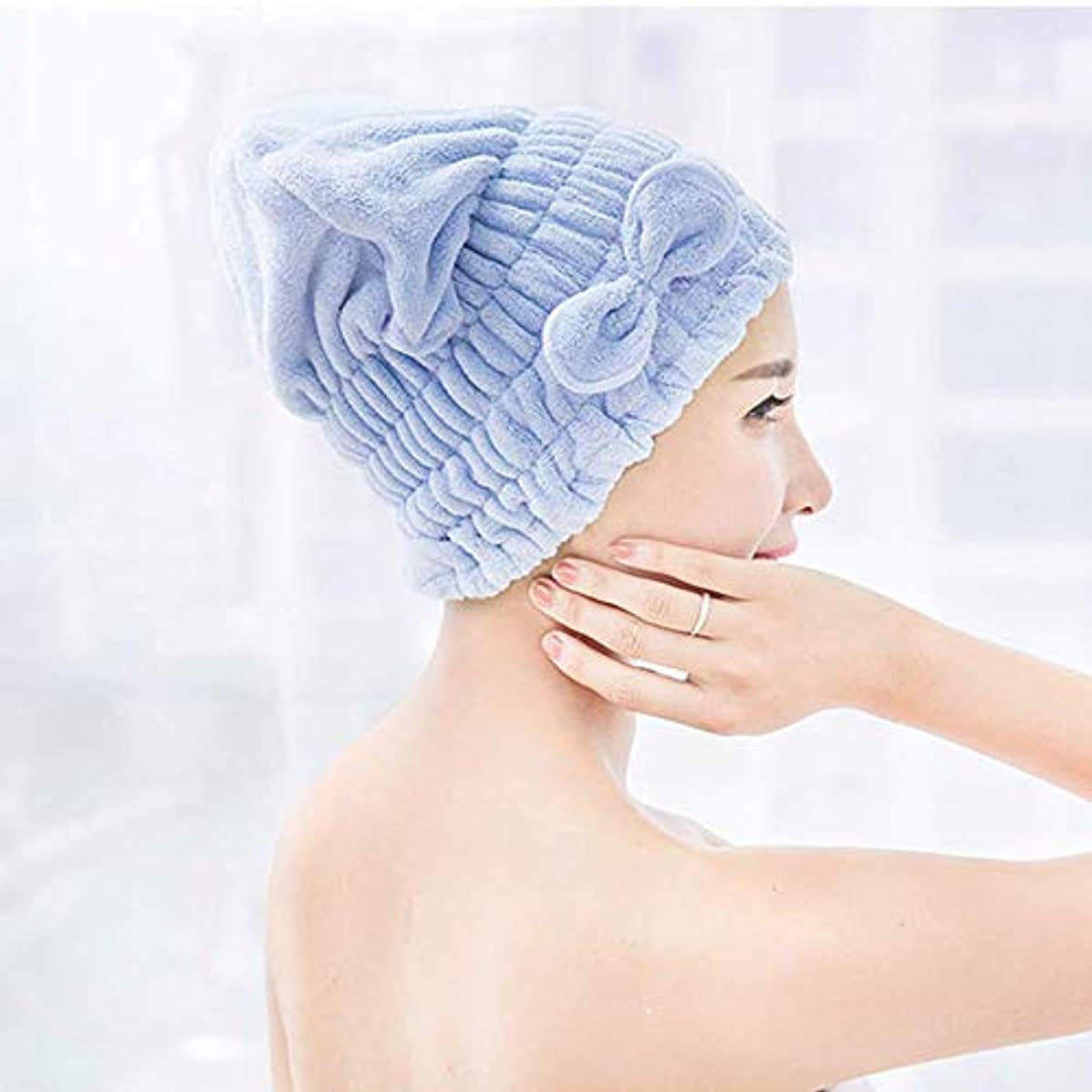 神経掃くハンカチloyouve ヘアドライタオル タオルキャップ 女の子 速乾 ヘアキャップ 強い吸水性 ドライキャップ マイクロファイバー ちょう結び キノコ 髪帽 (ブルー)