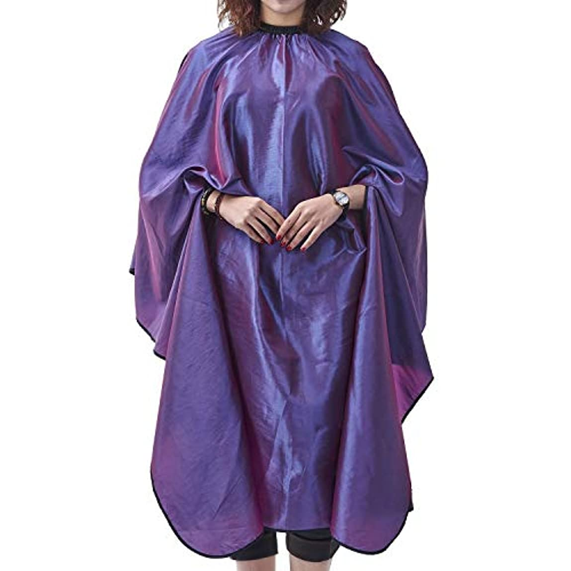 バッジ机シャーHIZLJJ サロンケープエプロンバーバーシャ??ンプーオイルスタイリングヘアカット美容師職業理髪店用品よだれかけ (Color : Purple)