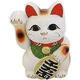 開運 招福 招き猫(常滑焼) 6寸右 白 TB7508
