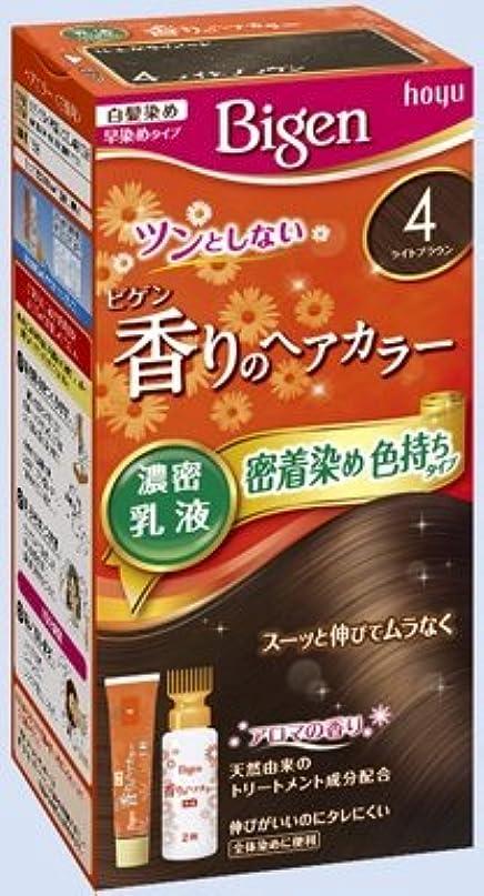 浸透する三十薄いビゲン 香りのヘアカラー 乳液 4 ライトブラウン × 10個セット