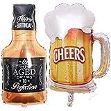 Lumierechat バルーン 風船 アルミバルーン シャンパン ボトル グラス ウィスキー ビール パーティー イベント 空気入れセット a-b1899(ダンディーセット)