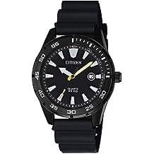 Citizen Men's Stainless Steel Japanese-Quartz Polyurethane Strap, Black, 22 Casual Watch (Model: BI1045-13E