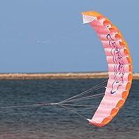 fidgetkute屋外おもちゃデュアルラインParafoilパラシュートスタントスポーツビーチ凧オレンジ新しい