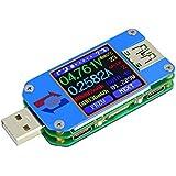 AiLi UM25C USBMeterTester VoltageCurrent Bluetooth BatteryPower Charger Voltmeter Ammeter MultimeterTester, 1.44 Inch Color LCD Display USB 2.0 Type- C Cable Resistance Load Impedance Meter