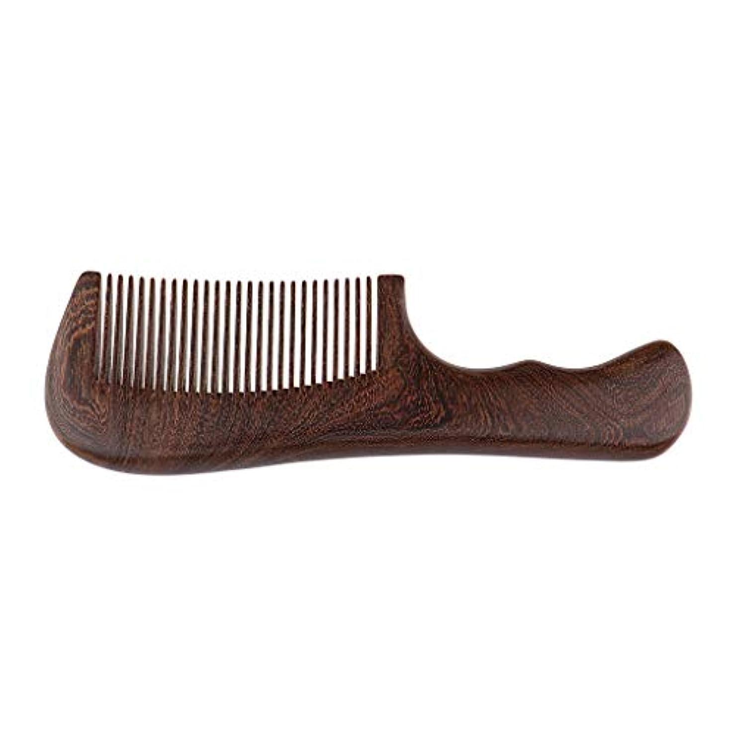 セブンアフリカ案件P Prettyia 帯電防止櫛 ウッドコーム 木製櫛 ハンドヘルドくし 頭皮マッサージ 2仕様選べ - 細かい歯