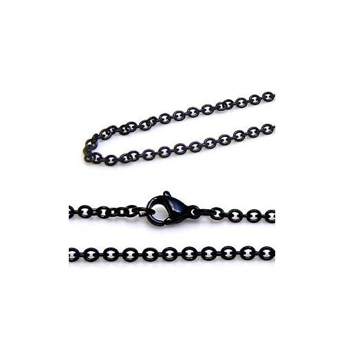 【ツーピーシーズ】 2PIECES ステンレスアクセサリー メンズ チェーン あずき・アズキ 黒・ブラック sc0021 【45cm】