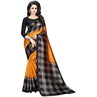CRAFTSTRIBE Check Pattern Printed Bollywood Saree Party Wear Indian Ethnic Art Silk Sari