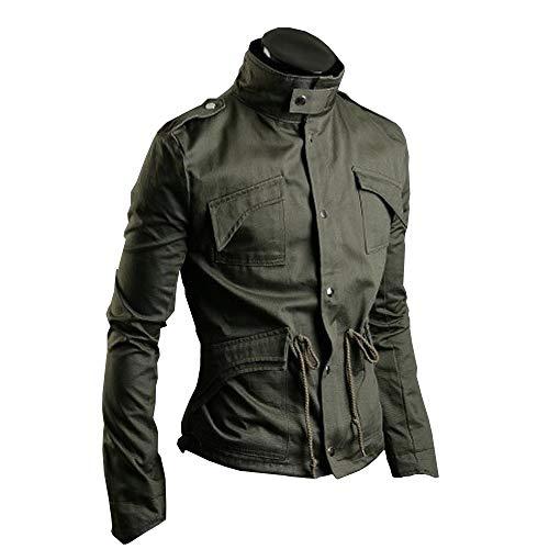 83e59f1844e02b KMAZN メンズ ミリタリー ライダース ジャケット ウィンドブレーカー エポレット おしゃれ 長袖 防風 大きいサイズ 黒 緑 ジャンパー