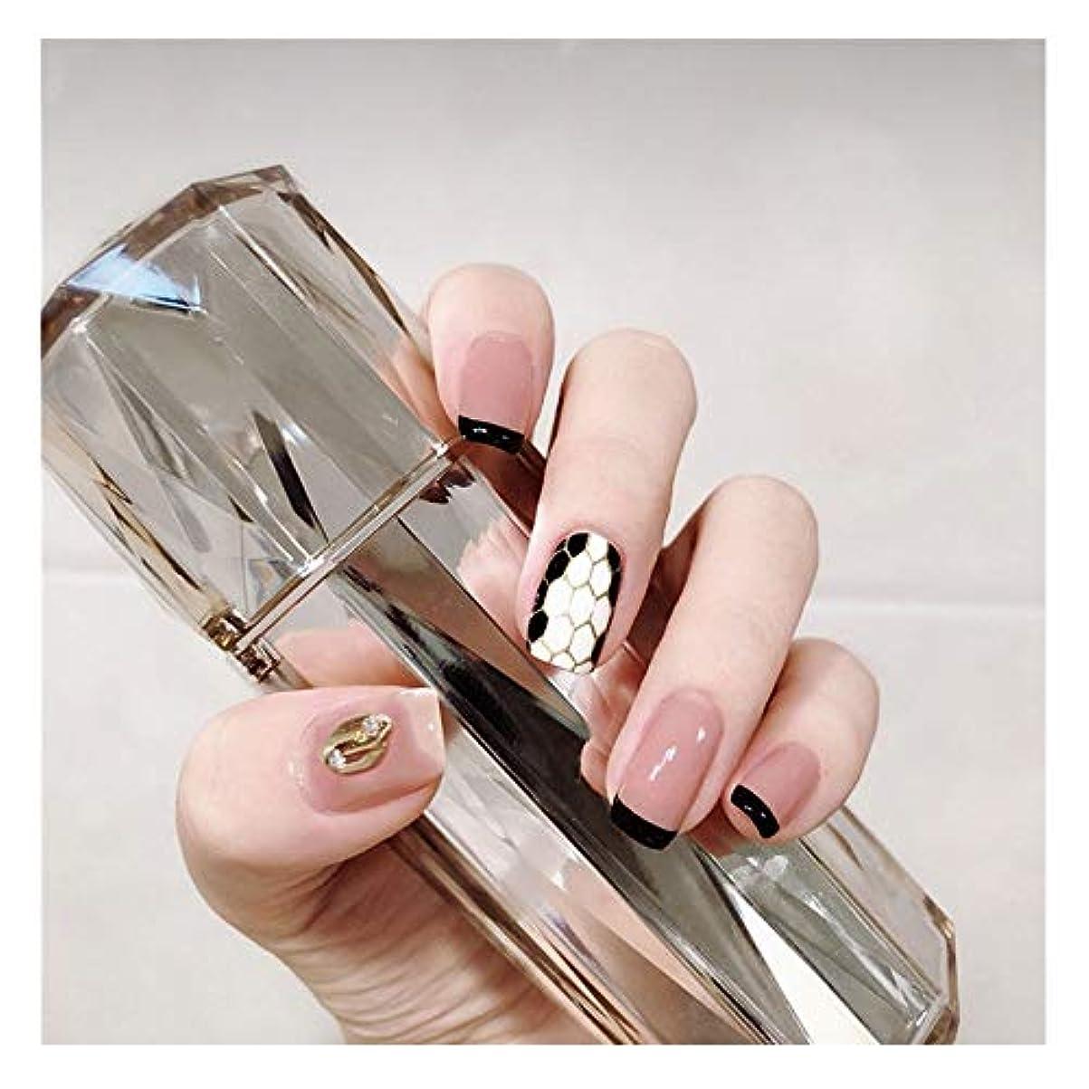 露出度の高いチャームHOHYLLYA サーペンタイン?パターンとメタルジュエリーの接着剤フェイクネイルズファッション単一の製品アクセサリーとスクエアネイルピンク+黒 (色 : 24 pieces)