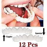 インスタント快適なフレックスパーフェクトベニヤワンサイズフィットの歯のスナップキャップを白くする12個の上下の歯の化粧品のベニヤ、最も快適な義歯のケア