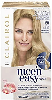 Clairol Nice'n Easy Repair Permanent Hair Colour, 9B Light Beige Blonde, Pack