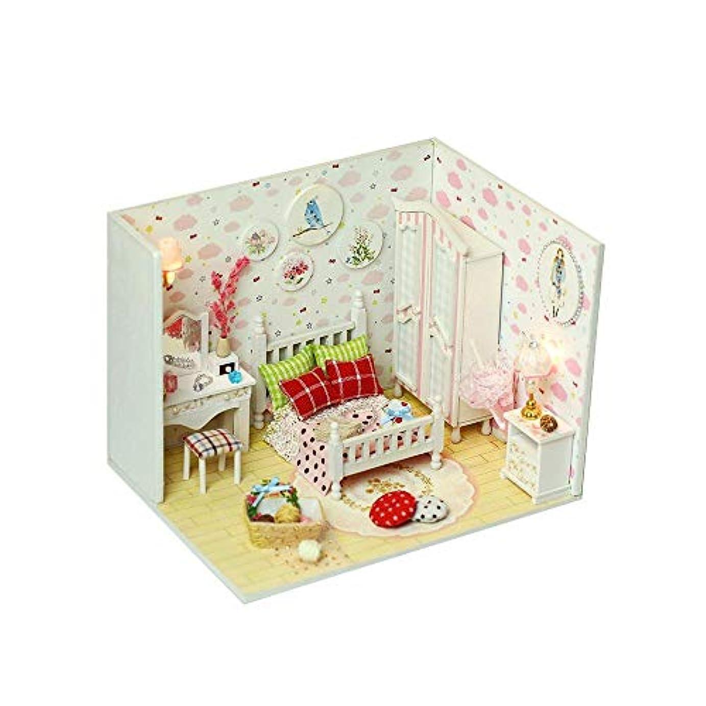 セーブ変な怠惰DANHCHUN DIYドール ハウス ハンド クラフトかわいい木製ハウス ミニ ベッド ルーム家具キット、スウィートスタードリームギフト用キッズDIYハウス