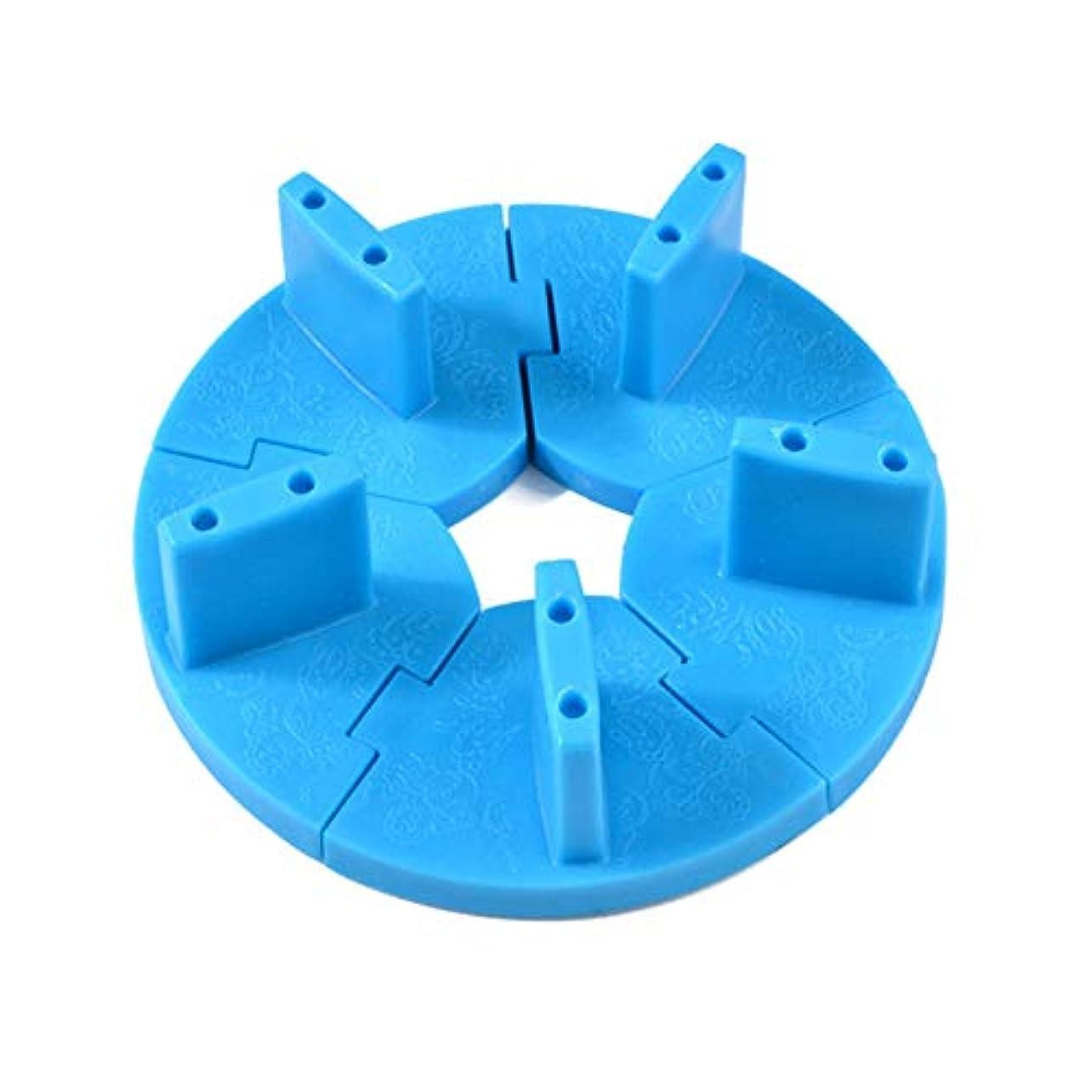 囲まれた溶岩本部ネイルチップスタンド ネイル練習ツール ディスプレイホルダースタンド 組み立て式 固定チップ5個付き (ブルー)