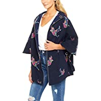 French Connection Women's Botanical Bird Printed Poncho, Multicolored (Nocturnal Multi), One Size