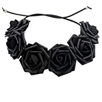 Large Capacity Outdoor Equipment Rose Flower Hair Accessories for Girls (Color : Black)