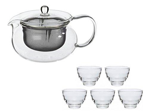 【セット買い】HARIO (ハリオ) 茶茶 急須 丸 700ml & 耐熱 湯呑み 5客セット