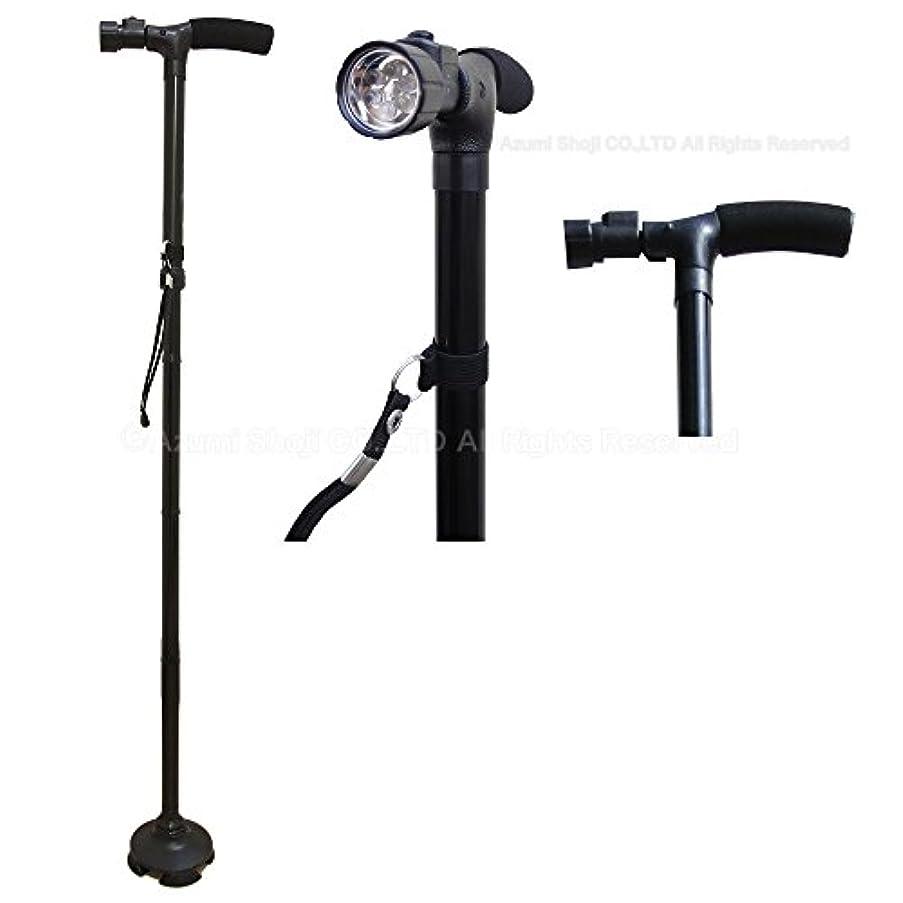 兵士キャンディー温室安住商事 自立式ステッキ 室内杖 角度調節ライト搭載 LR44アルカリ電池付属4点支柱 LED 散歩 ギフト 福祉用具/角度調節ライト付き折り畳み杖